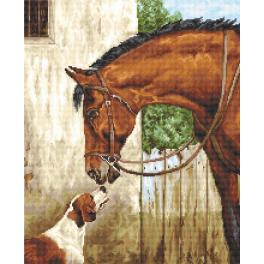 LS B580 Cross stitch kit - Hunter and foxhound