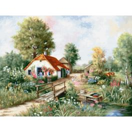 LS BU4011 Cross stitch kit - Village landscape