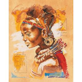 LPN-0008009 Cross stitch kit and printed background - African woman