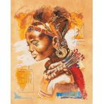 Cross stitch kit and printed background - African woman