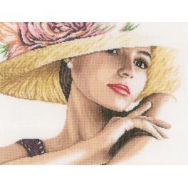 LPN-0168602 Cross stitch kit - Lady with hat