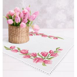 Cross stitch kit with mouline and napkin - Napkin with tulips