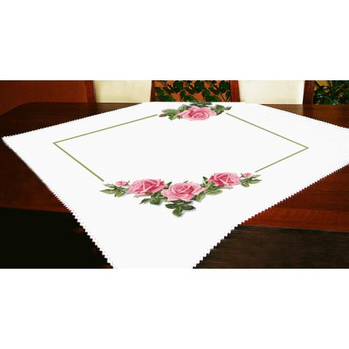 Cross stitch kit - Tablecloth with roses 3D