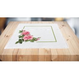 Cross stitch kit with mouline and napkin - Napkin with roses 3D