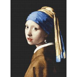 W 8974 Cross stitch pattern PDF - Girl with a pearl earing - J. Vermeer