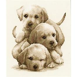 Cross stitch kit - Labrador puppies