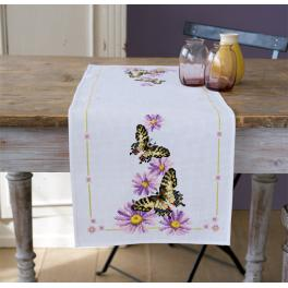 Cross stitch kit with a runner - Butterflies