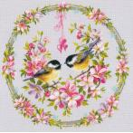 Cross stitch kit - Tits in flower wreath