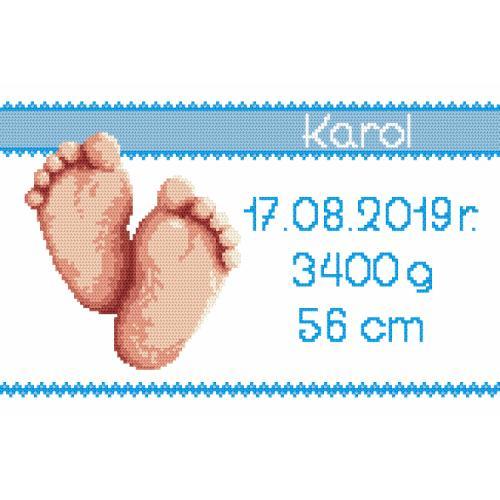 Cross Stitch pattern - Birth certificate - boy