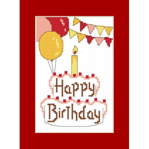 Cross stitch kit with a postcard - Postcard - Happy Birthday