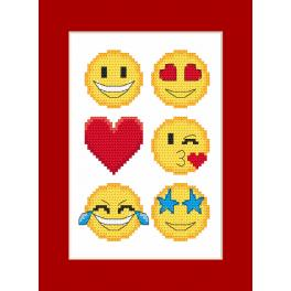 Cross stitch kit with a postcard - Postcard - Emoticons