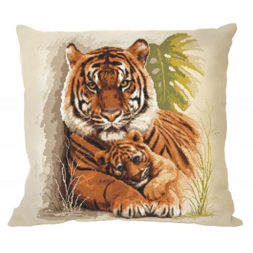 Cross stitch pattern - Pillow with tigers