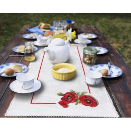 Cross stitch kit with a runner - Table runner with poppies 3D
