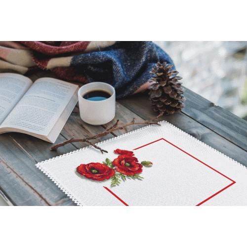 Cross stitch kit with mouline and napkin - Napkin with poppies 3D