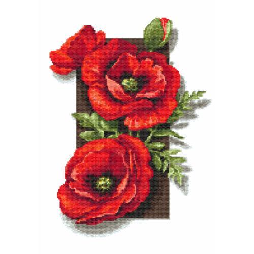 Cross stitch pattern - Poppies 3D