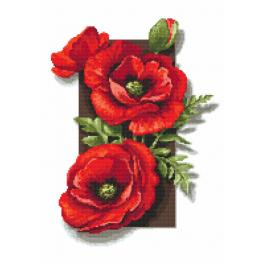 ZI 10172 Cross stitch kit with mouline and beads - Poppies 3D