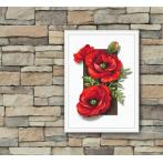 Cross stitch kit with mouline and beads - Poppies 3D