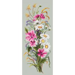 Cross stitch kit with mouline and beads - Bunch of wild flowers