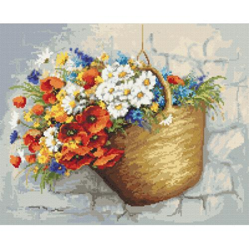 Tapestry aida - Bouquet with poppies in the basket