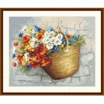 Kit with tapestry and mouline - Bouquet with poppies in the basket