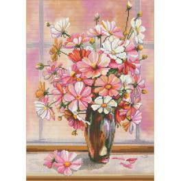 Kit with mouline and printed background - Flower gauze