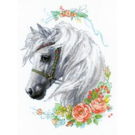 Kit with yarn - White mane and roses