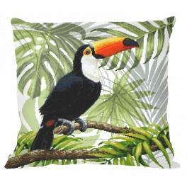 Cross stitch kit - Pillow - Toucan in the tropics