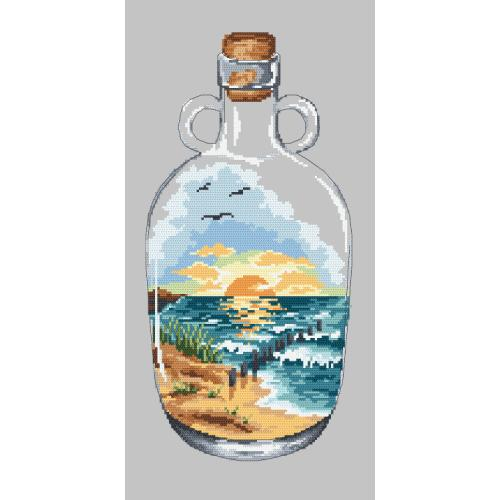 Cross stitch pattern - Bottle with sunset