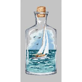 ZN 10223 Set with tapestry and mouline - Bottle with a sailboat