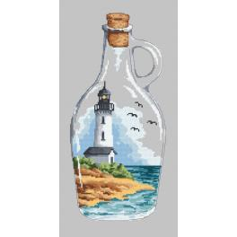 Set with tapestry and mouline - Bottle with a lighthouse