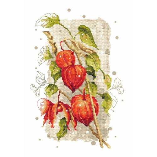 Cross stitch kit with mouline and beads - Autumn ground cherry