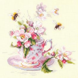 Cross stitch kit - Cup and apple blossom