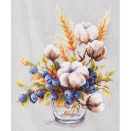 Cross stitch kit - Blooming cotton and blueberry