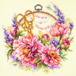 Cross stitch kit - Peonies for needlewoman