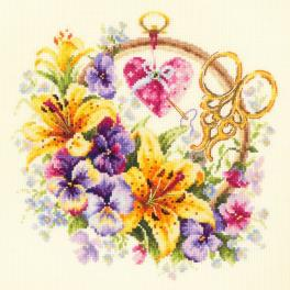 Cross stitch kit - Lilies for needlewoman