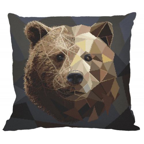 Cross stitch kit - Pillow - Mosaic bear
