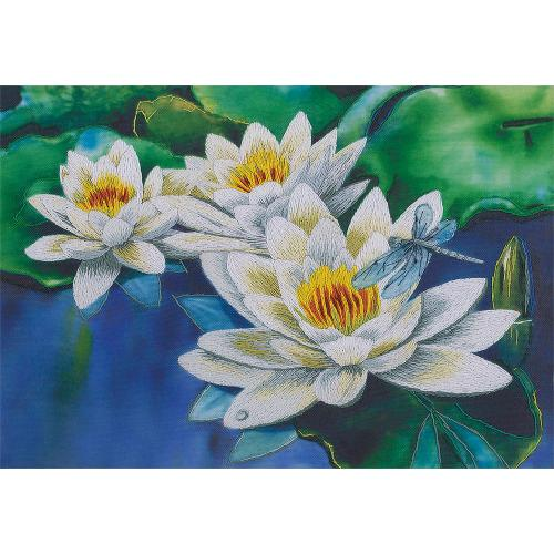 PAJK 2076 Kit with printed pattern, mouline and printed background - Gentle lotuses