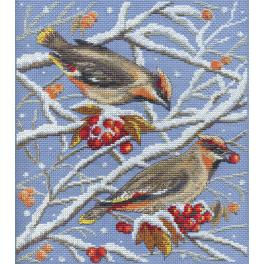 Cross stitch set - Waxwings