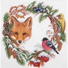 Cross stitch kit with mouline and beads - Winter wreath