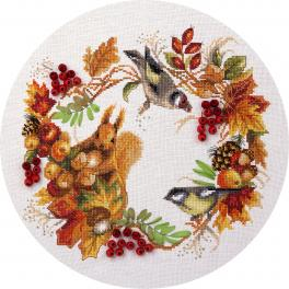 Cross stitch kit with mouline, beads end ribbons - Autumn wreath