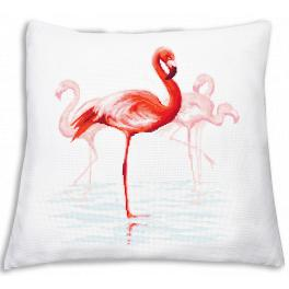 Cross stitch kit - Pillow with flamingos