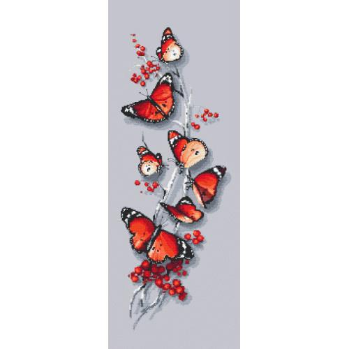 Cross stitch kit with mouline and beads - Butterfly spell
