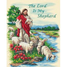 DIM 3222 Kit with printed pattern, mouline and printed background - The Lord is My Shepherd