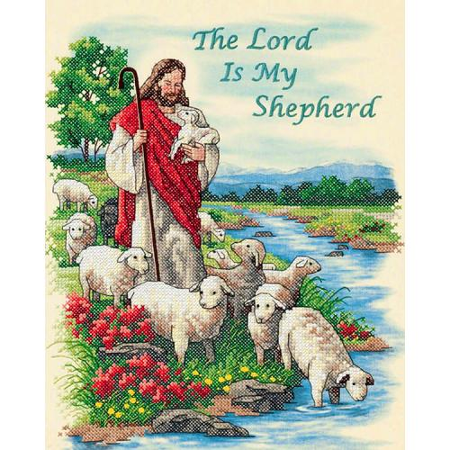 Kit with printed pattern, mouline and printed background - The Lord is My Shepherd
