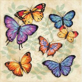 Kit with mouline and printed background - Plenty of butterflies - Cross stitch