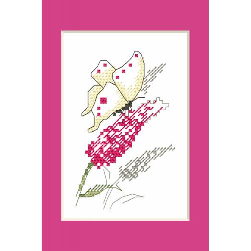 ZI 10228 Cross stitch kit with mouline and beads - Occasional card - Butterfly