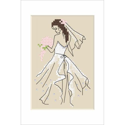 Cross stitch pattern - Wedding card - Bride