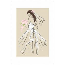 Set with mouline and beads - Wedding card - Bride