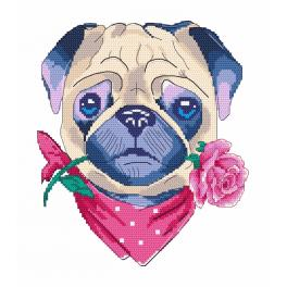 Cross stitch kit - Pug in love