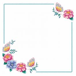 Cross stitch pattern - Napkin with flowers